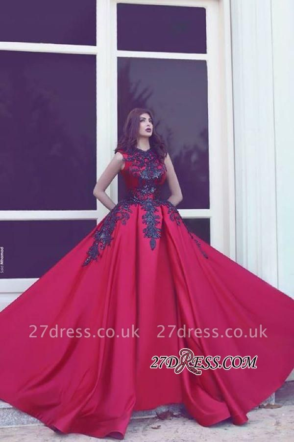 Black Long-Train Lace Red Evening Sleevess Sexy Sexy High-Neck Dress UKes UK MH078 BA3924