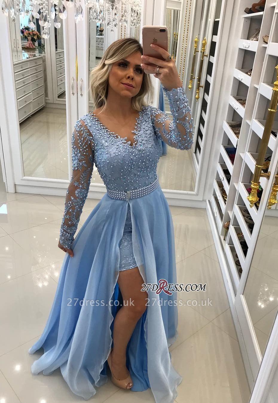Blue evening Dress UK, long sleeve prom Dress UK BA8795