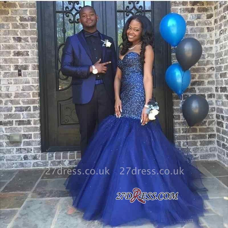 Beading Blue Shiny Sleeveless Strapless Popular Tulle Sequins Navy Prom Dress UK BK0