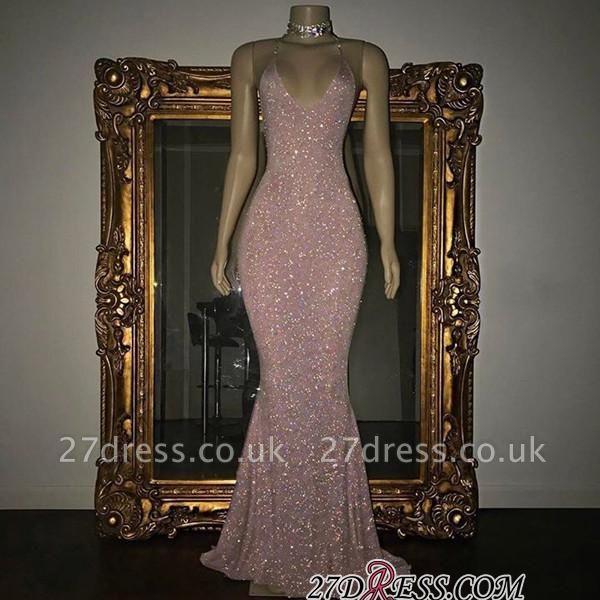 Mermaid Stunning Spaghetti-strap Sequined Sleeveless Long Prom Dress UK SP0311