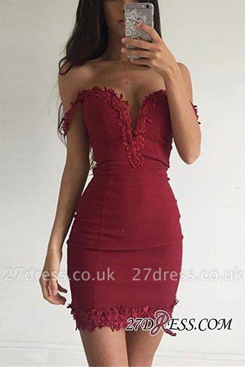 Burgundy Short Elegant Sheath Appliques Off-the-shoulder Homecoming Dress UK BA3581