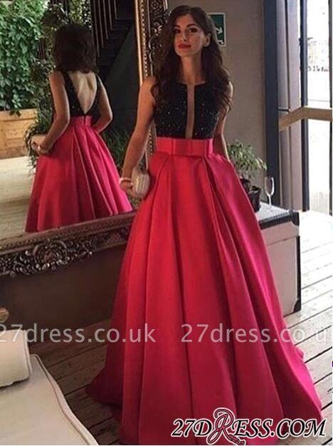 Sleeveless Neckline Scoop Black-red Prom Dress UK
