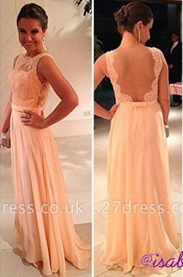 fashion long Vestido De Dama wedding party Dress UKes UK peach nude back chiffon lace prom gowns