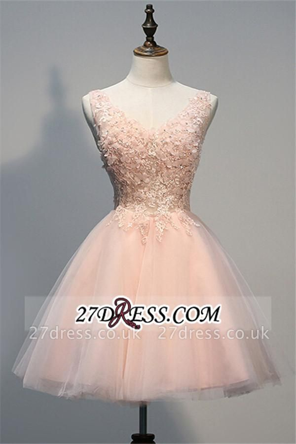 Appliques V-Neck Short Crystal A-line Sleeveless Tulle Homecoming Dress UK