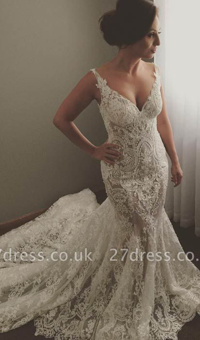 V-neck Sleeveless  Sexy Mermaid Wedding Dresses UK Lace Appliques Bridal Gown WE0196