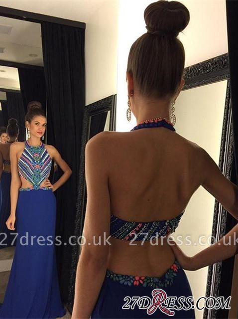Halter Sleeveless A-Line Open-Back Crystal Chiffon Luxury Prom Dress UK AP0