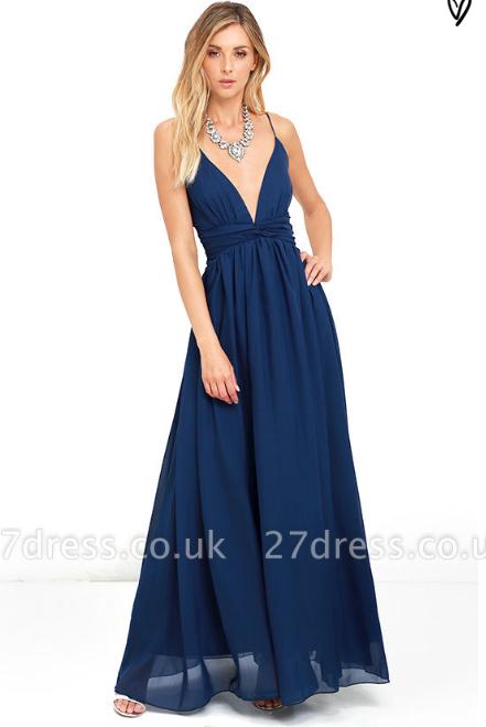 Sexy V-Neck Navy Blue Prom Dress UK Long Chiffon Bow Back
