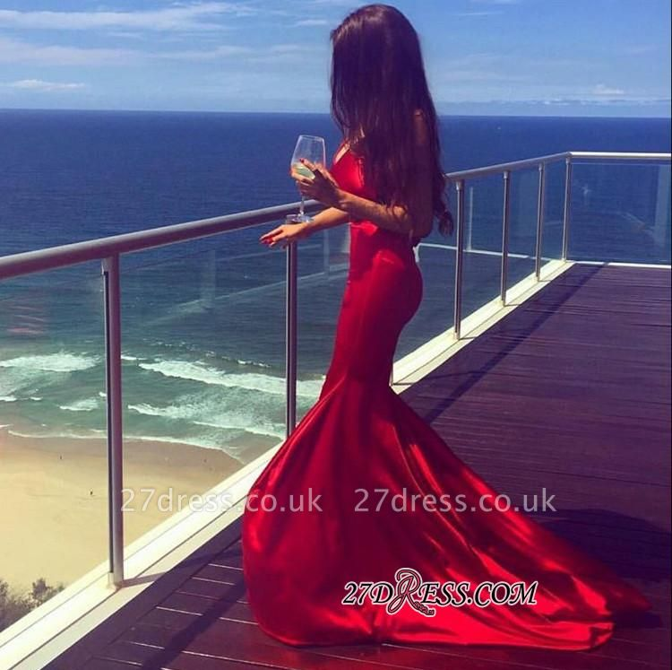 Red V-neck Sweep-Train Mermaid Sleeveless Newest Prom Dress UK