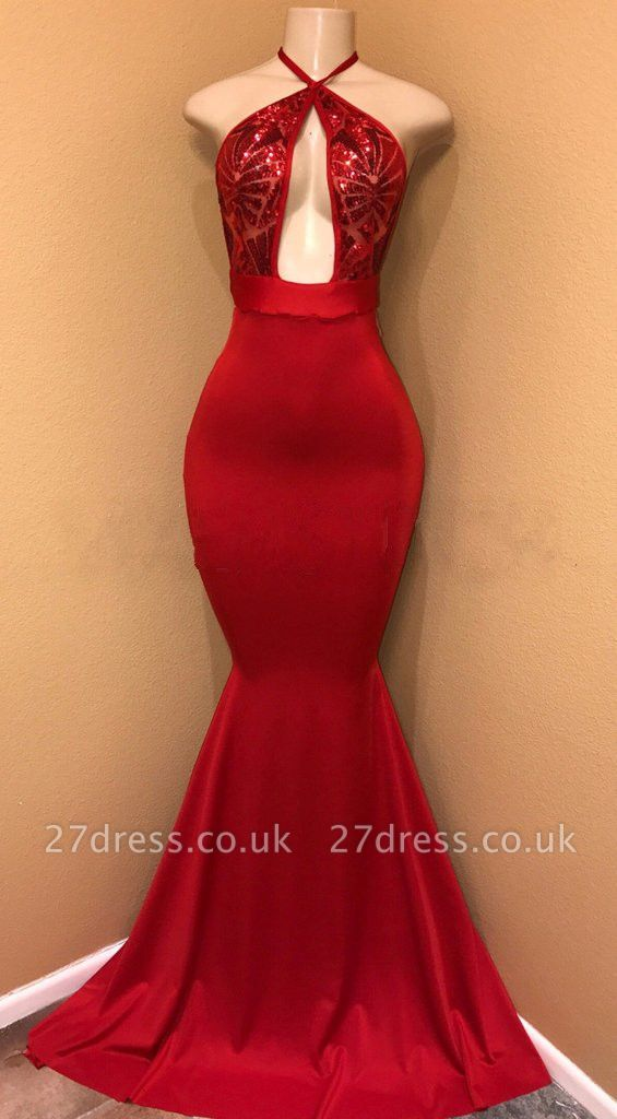 Elegant Red Sequins Prom Dress UK | Mermaid Halter Evening Party Gowns BA8975