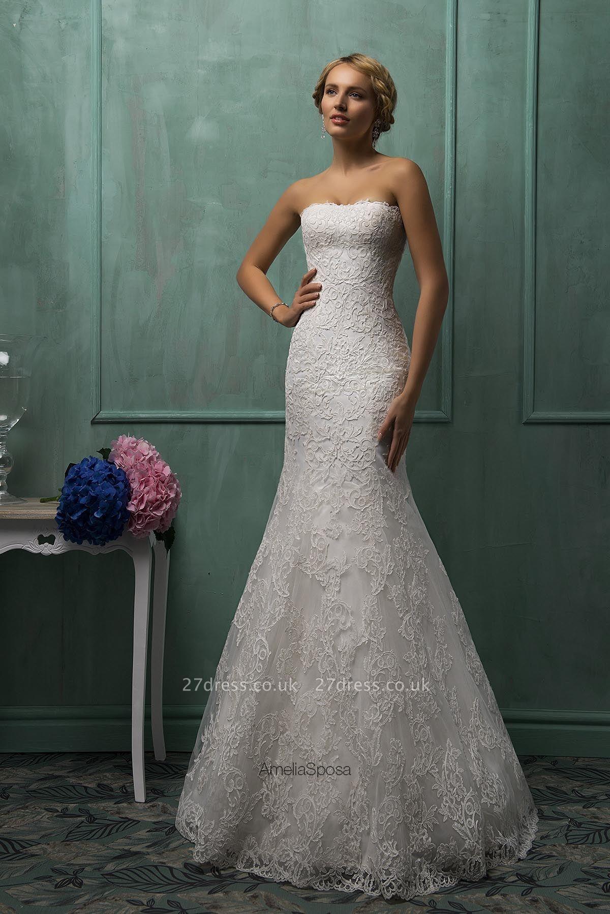 Elegant Strapless Sleeveless Lace Sexy Mermaid Wedding Dress Detachable Half-sleeve