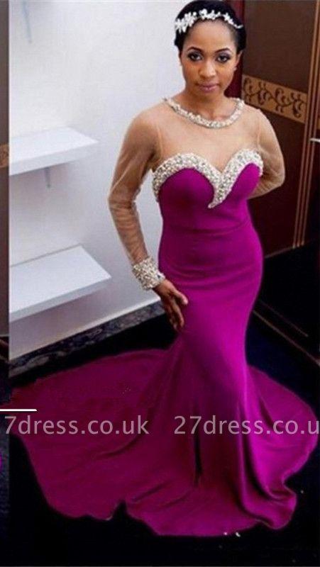 Elegant Mermaid Crystals Prom Dress UK Tulle Long Sleeve