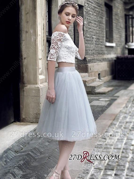 Off-the-Shoulder Elegant Knee-Length Tulle Lace Homecoming Dress UK