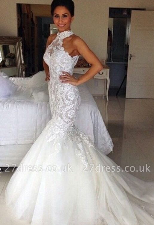 Delicate Halter Tulle Sexy Mermaid Wedding Dress With Lace Appliques