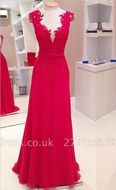 Elegant Red Deep V-Neck Prom Dress UKes UK Sleeveless Chiffon Evening Dress UKes UK with Bowknot