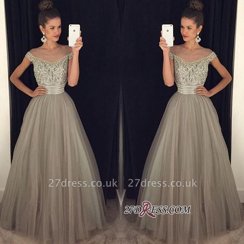 Beadings Tulle Long A-Line Gorgeous Crystal Prom Dress UK