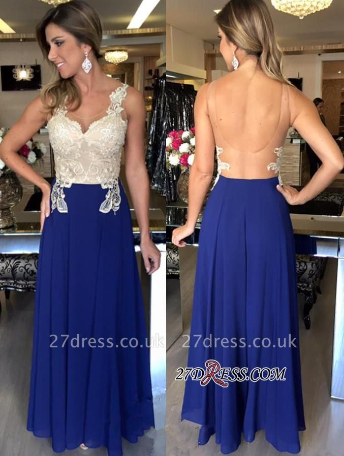 Open-Back Sleeveless Applique Natural Sexy A-Line Prom Dress UKes UK