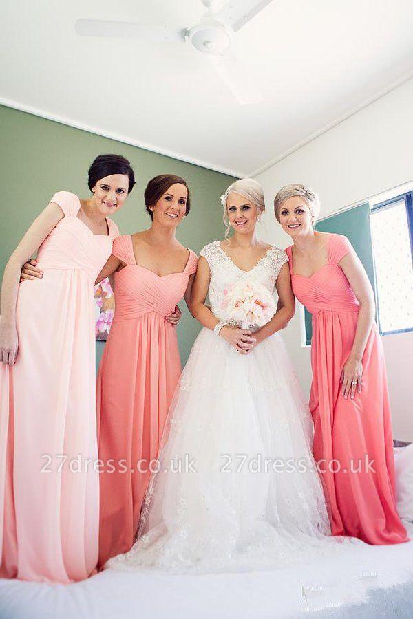 Sexy Cap Sleeve Long Bridesmaid Dress UKes UK Chiffon Floor Length