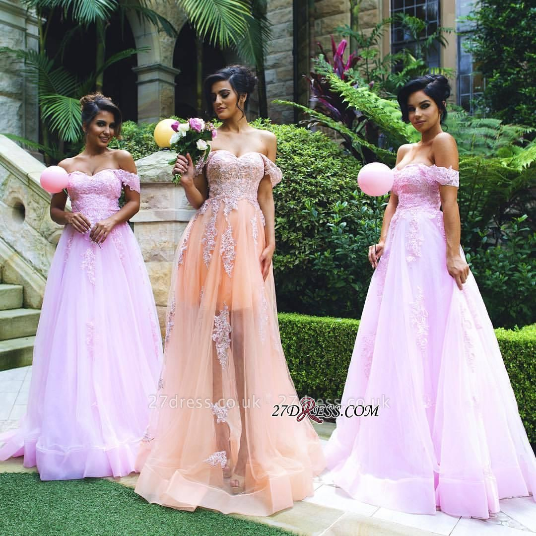 Lace Off-the-shoulder Luxury Appliques Tulle Prom Dress UK