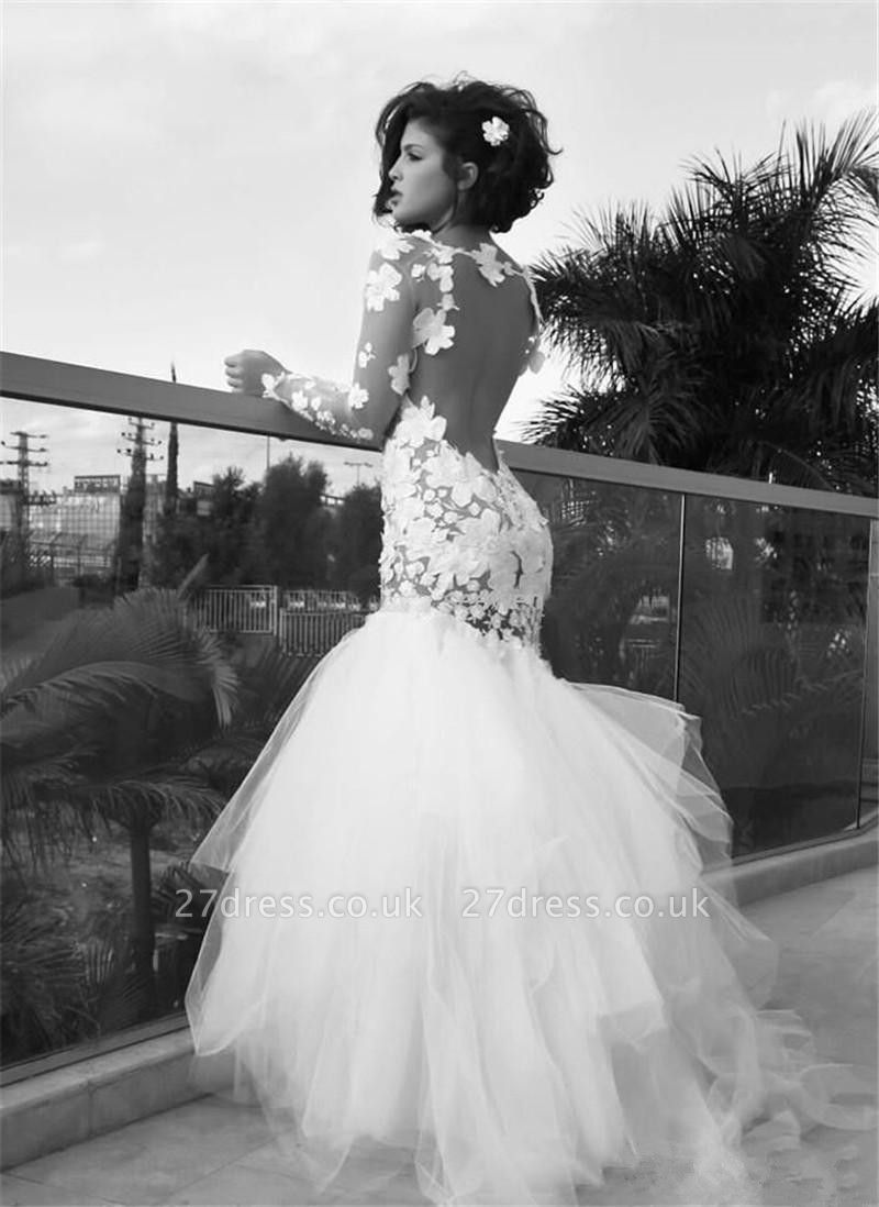 Delicate Long Sleeve Tulle Sexy Mermaid Wedding Dress With Appliques