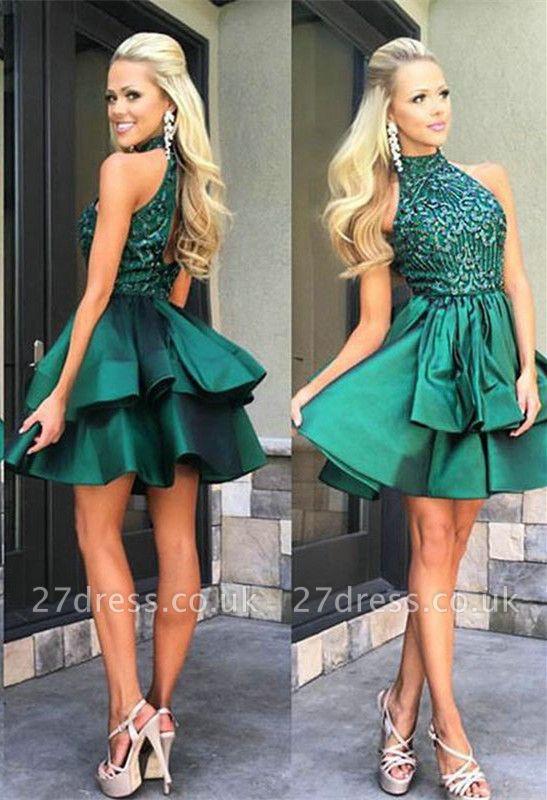 Luxury Green Sleeveless Short Prom Dress UK Beadings Mini Homecoming Gown HT102
