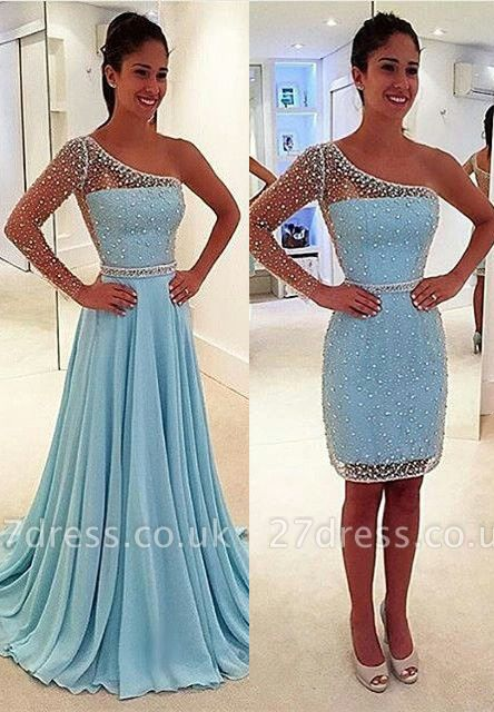 Stunning One Shoulder Long Sleeve Prom Dress UK Chiffon Beads Detachable Two Piece BA6802
