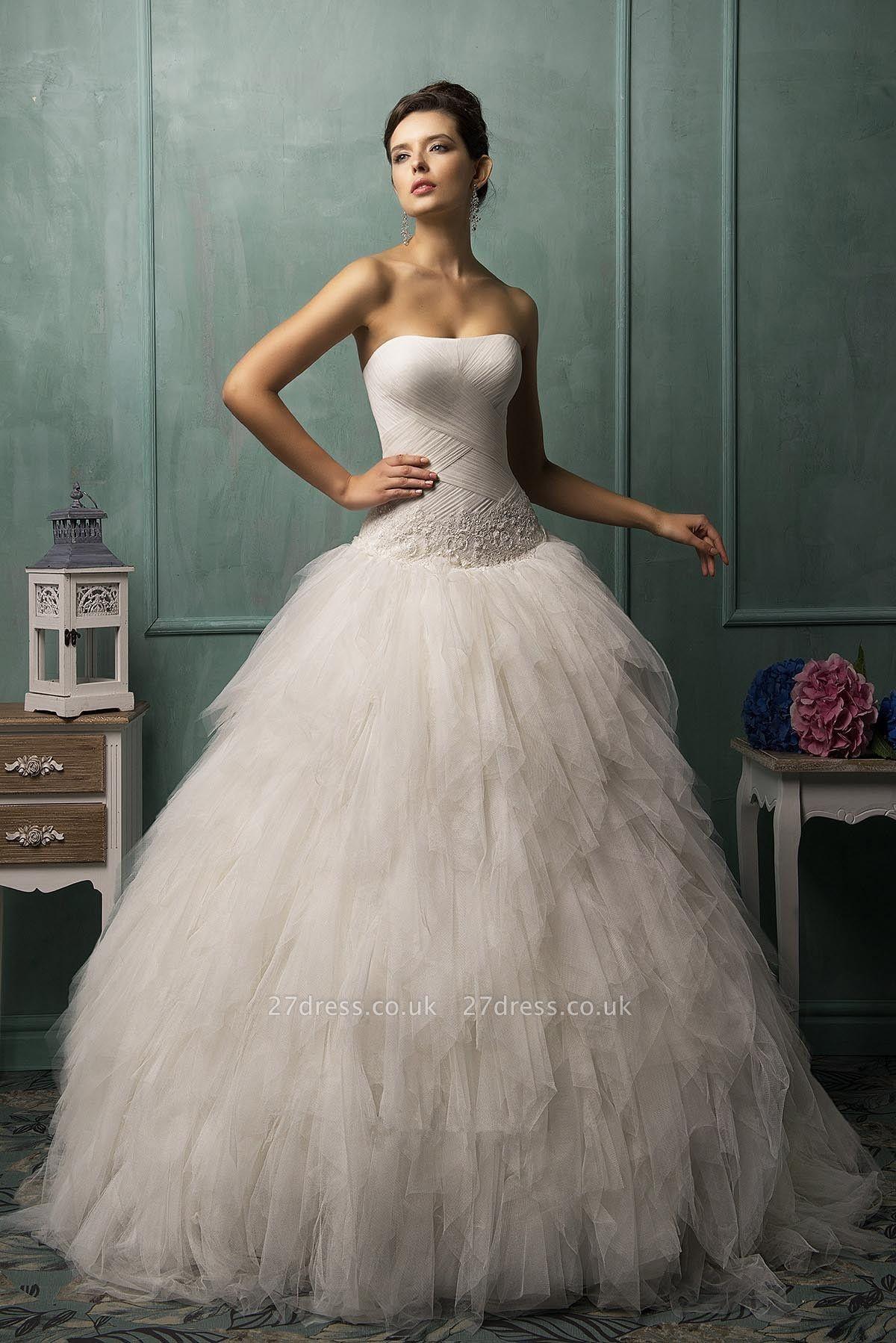 Modern Strapless Sleeveless Tulle Wedding Dress With Ruffles