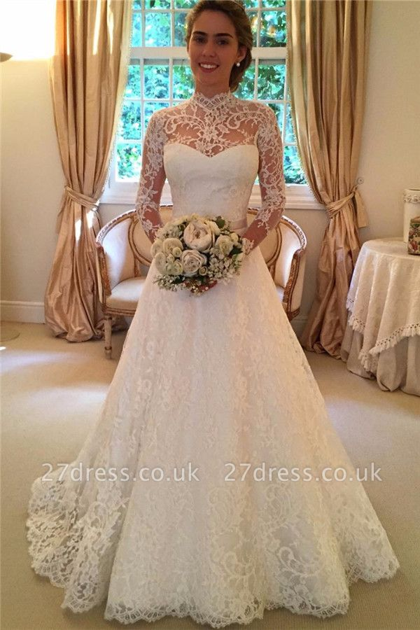 Elegant Lace A-line Wedding Dress Long Sleeve High Neck