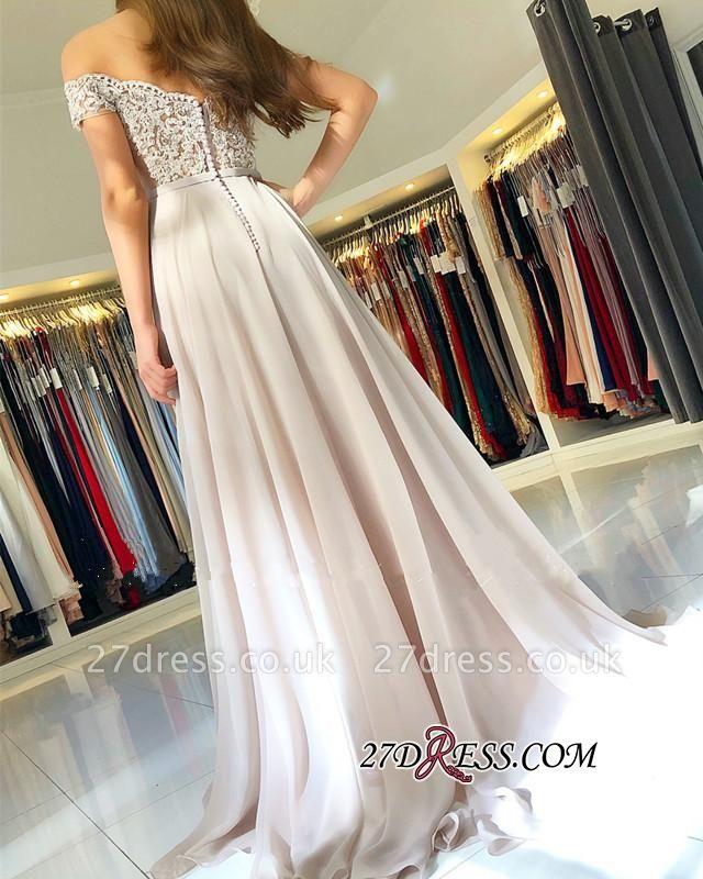 Sexy Chiffon Long Prom Dress UK   Off-the-Shoulder Lace-Appliques Evening Dress UK