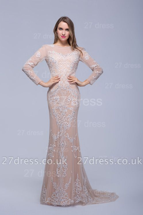 Newest Long Sleeve Floor-length Evening Dress UK Lace Appliques