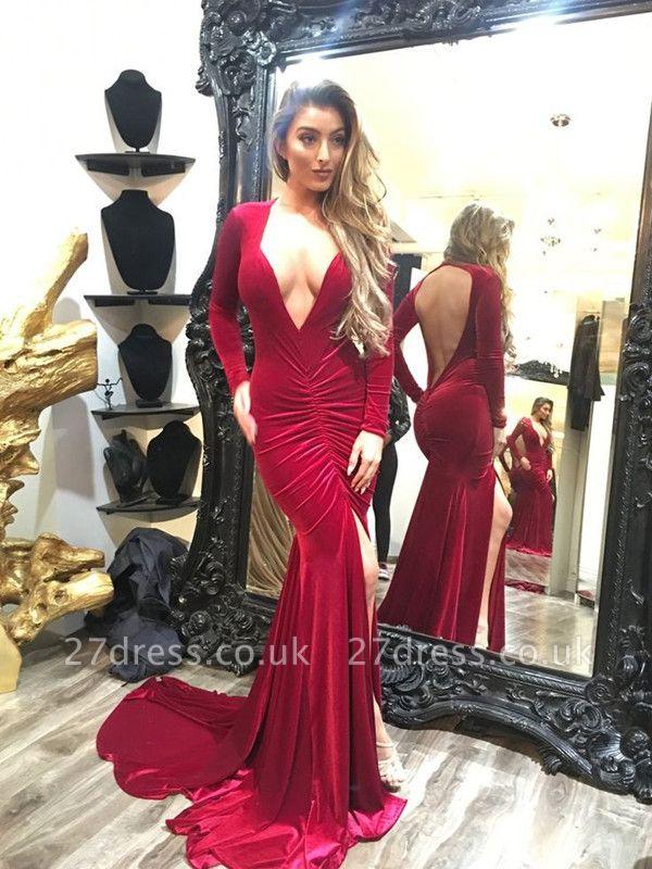 Elegant Long Sleeve V-neck Prom Dress UK Open Back Party Dress UK With SPlit