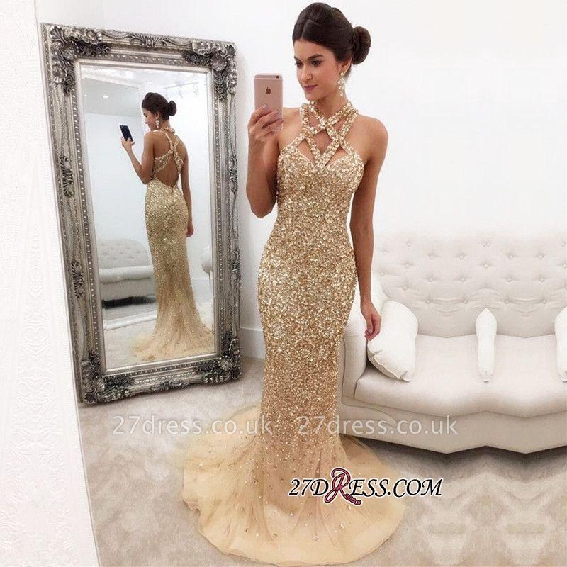 Halter Mermaid Sleeveless Zipper-Back Crystals Luxury Prom Dress UK