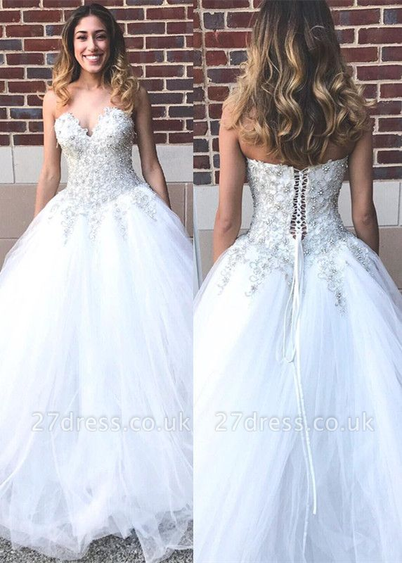 Elegant Sweetheart Beadss Princess Wedding Dress Tulle Lace-up Bridal Gown On Sale