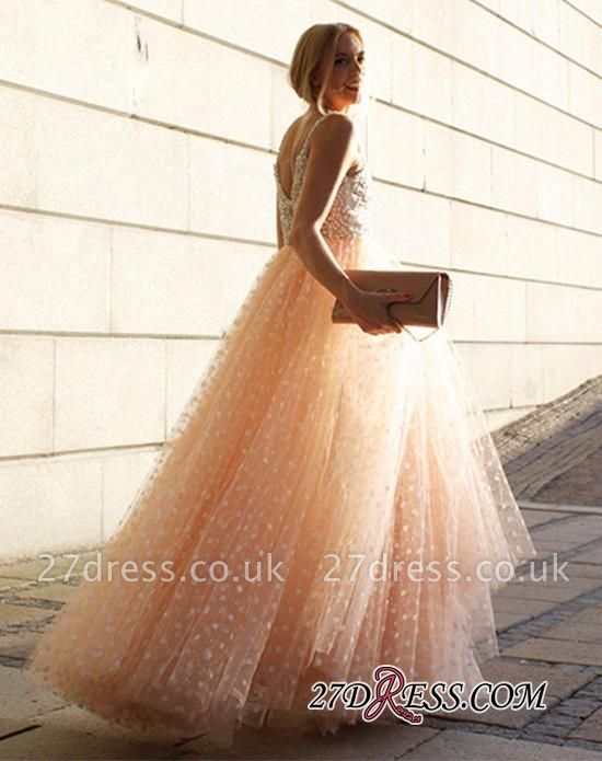 Sexy Straps Sleeveless Evening Dress UK Long Tulle Party Dress UK With Appliques