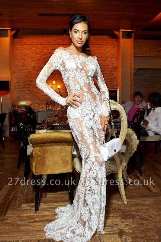 Elegant Illusion White Lace Prom Dress UKes UK Mermaid Long Sleeve