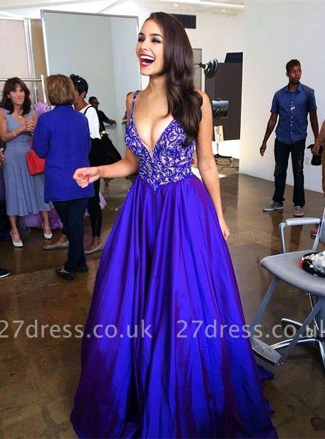 Sexy V-neck Royal Blue Prom Dress UKes UK Lace Sleeveless Floor Length