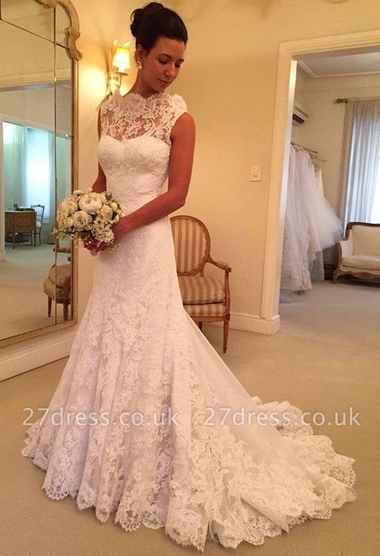 Pretty lace Sleeveless Sexy Mermaid Wedding Dress Sweep Floor On Sale