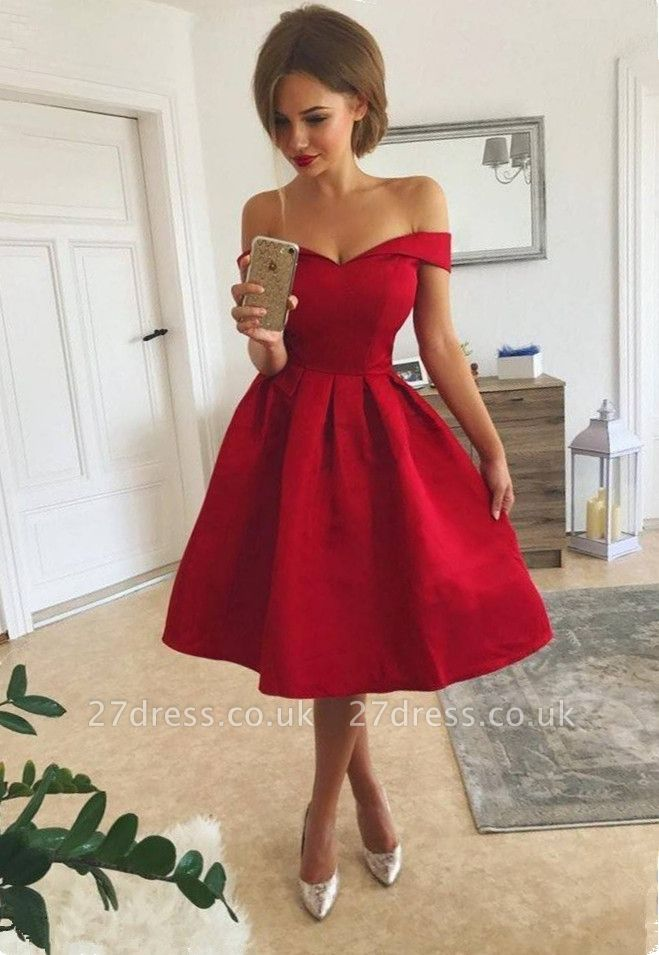 Sexy Red Off-the-Shoulder Homecoming Dress UK | 2019 Short Prom Dress UK