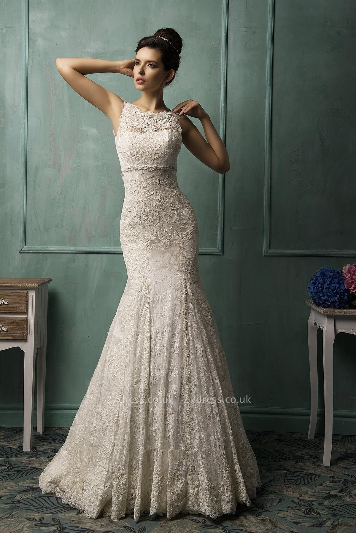 Illusion Sleeveless Sexy Mermaid Wedding Dress With Lace Zipper