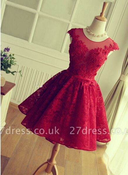 Delicate Red Lace Appliques Homecoming Dress UK Mini Cap Sleeve