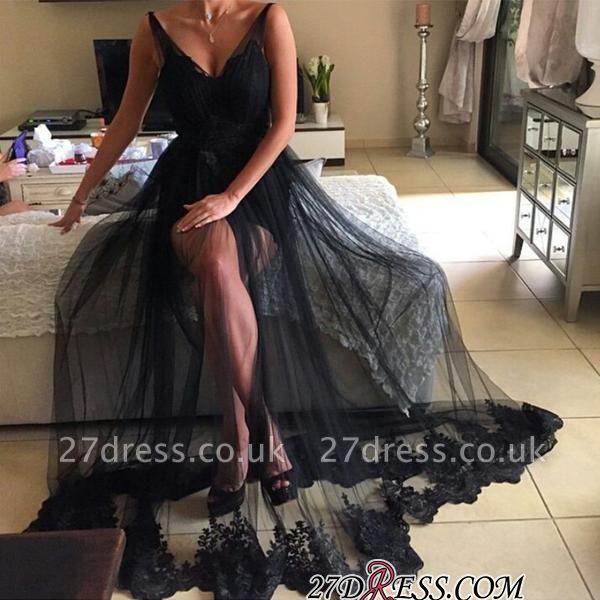 Elegant Black V-Neck Prom Dress UK | Long Tulle Evening Gowns
