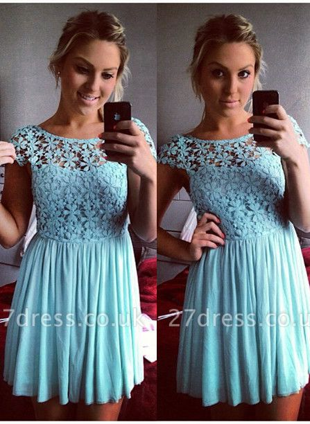 Lovely Cap Sleeve Lace Homecoming Dress UK Short Party Gowns BA3719