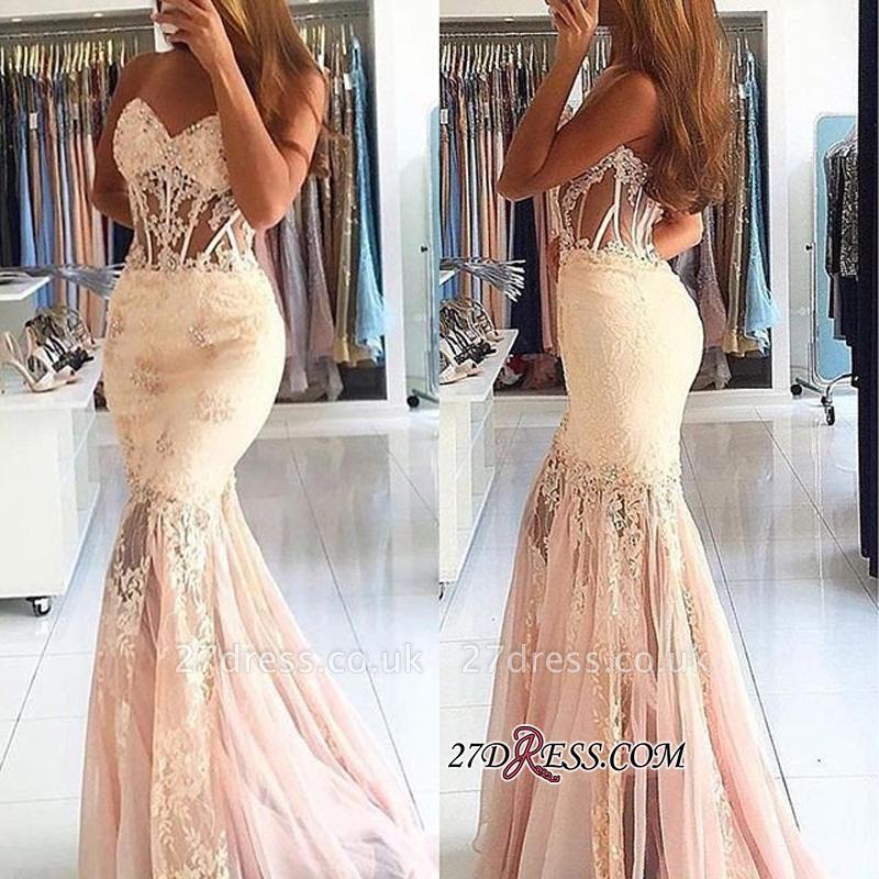 Long Appliques Stunning Sweetheart Lace Mermaid Prom Dress UK BA7225