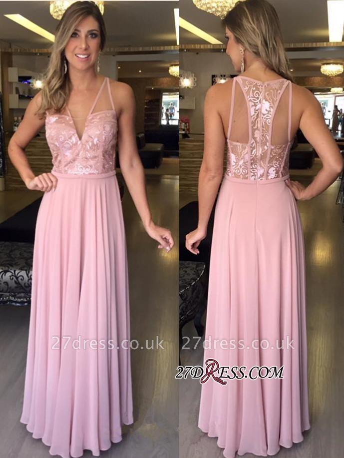 Pink A-Line Chiffon Long V-Neck Lace Sleeveless Prom Dress UKes UK
