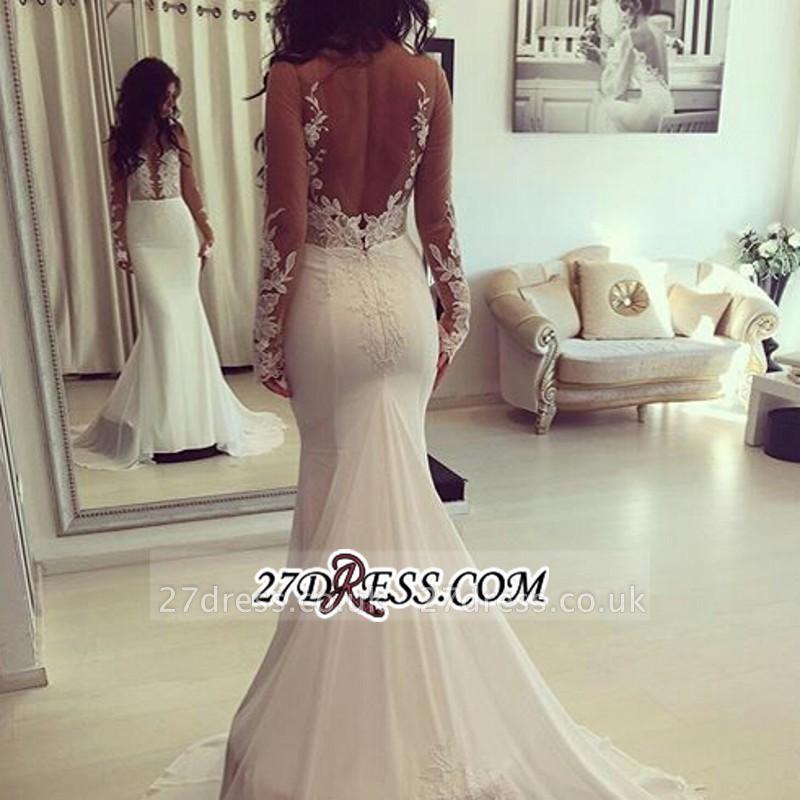 Sheer Appliques Sexy Mermaid Long-Sleeves Elegant Wedding Dresses UK qq0006