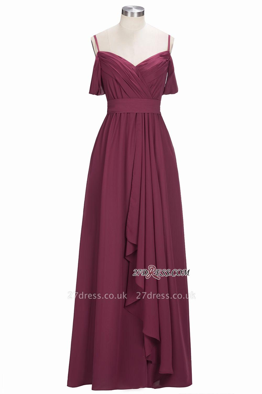 Off-the-Shoulder Chiffon Bridesmaid Dress UK | Long Wedding Party Dress UK