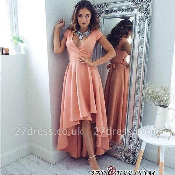 Short-Sleeves Elegant Hi-Lo A-Line V-Neck Prom Dress UKes UK qq0321