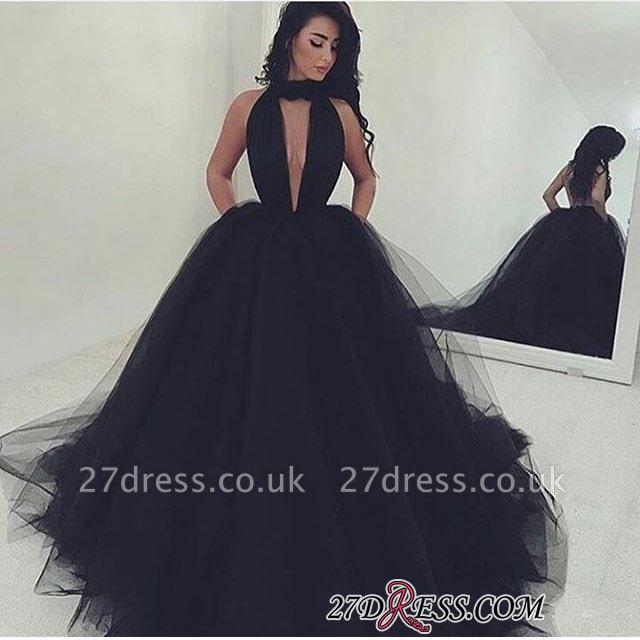 Luxury Tulle V-Neck Ball-Gown Black Prom Dress UK BA4184