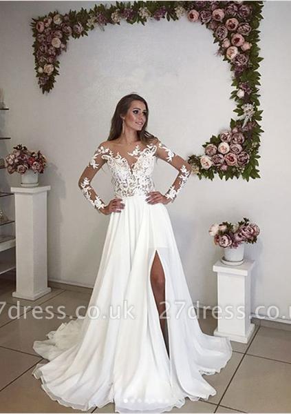 Elegant Long Sleeve Lace Wedding Dress  With Split