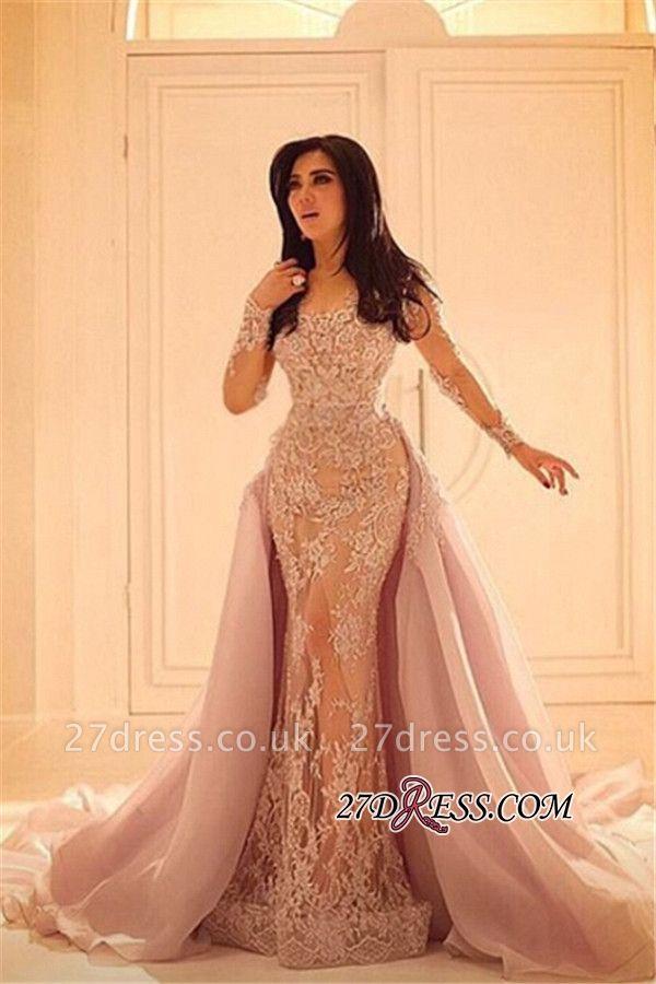 Luxurious Sleeves Mermaid Long Overskirt Lace Elegant Appliques Evening Dress UKes UK BA0579