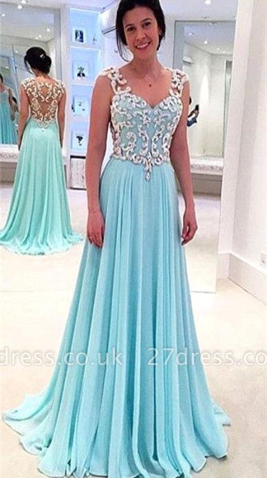 Newest Lace Appliques Chiffon Prom Dress UK A-line Straps